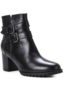 Bota Couro Shoestock Cano Curto Fivelas Feminina - Feminino