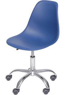 Cadeira Eames Dkr- Azul Marinho & Prateada- 93X47X41Or Design
