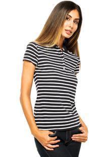 ... Camisa Polo Manga Curta Tommy Hilfiger Slim Fit Listrada Azul-Marinho 6b2605bd47403