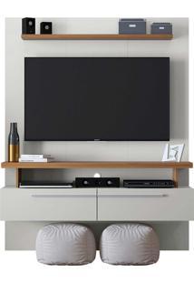Painel Home P/ Tv De Até 60 Pol. New Caju Off White/Nogueira Linea Brasil