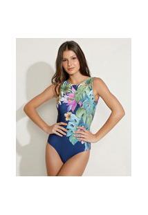 Maiô Body Estampado Floral Aquarelado Com Bojo E Proteção Uv50+ Azul Marinho
