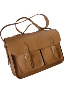Bolsa Line Store Leather Satchel Pockets Grande Couro Caramelo. - Kanui