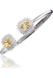 Bracelete Cravejado Giullia Ferraz Citrino Feminino - Feminino-Amarelo