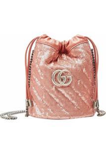 Gucci Bolsa Bucket Gg Marmont Mini Com Aplicação De Paetês - Rosa