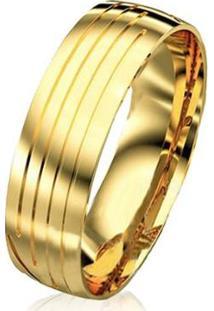 Aliança De Casamento Masculina Em Ouro 18K 750 Wm Joias 7Mm M2924 - Masculino-Dourado