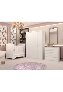 Dormitório Melissa Guarda Roupa 4 Portas Cômoda 4 Gavetas E Berço Cléo Branco Fosco Carolina Baby