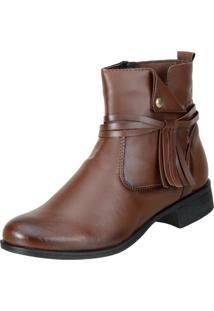 Bota Cano Curto Dududias Ankle Boot 070 Marrom - Marrom - Feminino - Dafiti