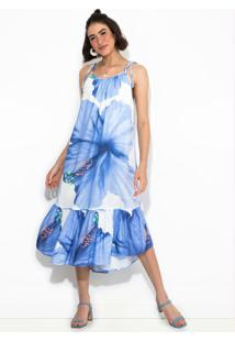 Vestido Midi Vestida De Flor Azul