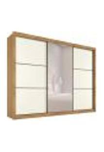 Guarda-Roupa Casal Com Espelho Braga Flex 3 Pt 6 Gv Amêndoa E Off White