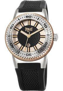 Relógio Analógico E455- Rosê Gold & Preto- Everlasteverlast Relógios