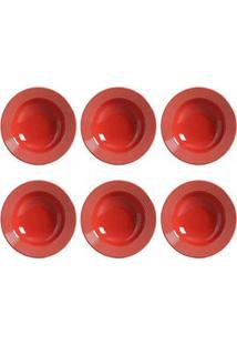 Conjunto De Pratos Fundo Com 06 Peças Em Cerâmica Argos Vermelho - Porto Brasil