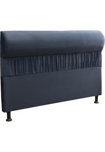 Cabeceira Casal Queen 160Cm Para Cama Box Vitória Suede Azul - Ds Móveis