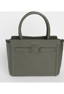 Bolsa Lisa Com Argola - Verde Musgo - 23,5X34X10Cm
