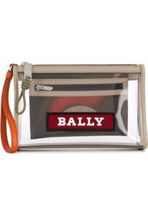 Bally Zipped Logo Clutch Bag - Neutro