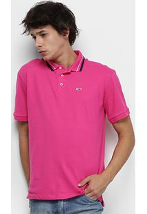 Camisa Polo Tommy Jeans Classics Stretch Masculina - Masculino-Rosa