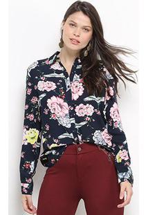 Camisa Facinelli Floral Manga Longa Feminina - Feminino-Marinho