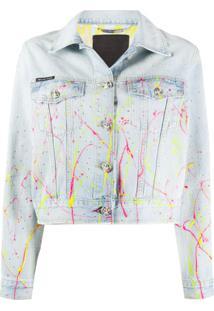 Philipp Plein Jaqueta Jeans Cropped Hot N' Cold - Azul