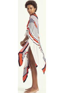 Saída De Praia Kimono Estampa Listrada