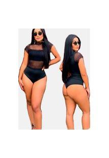 Body Gola Alta Summer Body Renda E Transparência Preto