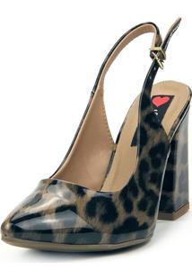 Scarpin Love Shoes Salto Grosso Alto Fino Aberto Verniz Onça - Kanui