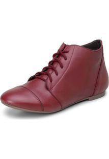 Bota Feminina Casual Confort Cano Curto Ankle Boot De Couro Sintã©Tico Cavalaria Vermelha - Vermelho - Feminino - Couro LegãTimo - Dafiti