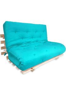 Sofa Cama Casal Futon Oriental Azul Turquesa Com Madeira Maciça.