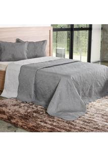 Kit Cobre Leito Casal Com Porta Travesseiro Concret - Bene Casa