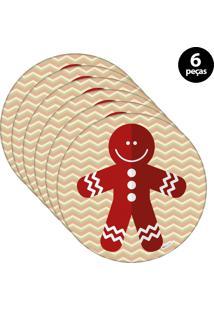 Sousplat Mdecore Natal Biscoito 32X32Cm Bege 6Pçs
