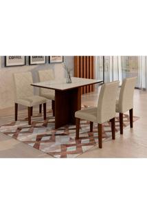 Conjunto De Mesa De Jantar Com Vidro E 4 Cadeiras Ane Suede Castor E Branco
