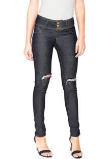 Calça Jeans Uber Jeans Skinny Rasgos Azul-Marinho