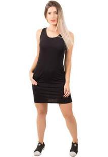 Vestido Bella Fiore Liso Casual - Feminino-Preto