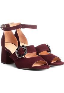Sandália Couro Shoestock Salto Grosso Fivela Feminina - Feminino-Vinho