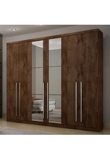 Guarda Roupa Casal Com Espelho 6 Portas 4 Gavetas Kratos 2019 Siena Móveis Canela