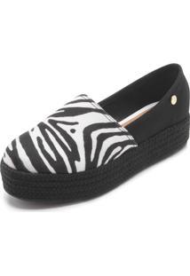 Alpargata Flatform Vizzano Zebra Branco