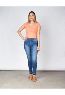 Calça Denim Skinny Feminina Barra Sem Costura - Feminino