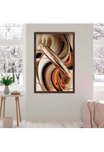 Quadro Love Decor Com Moldura Abstrato Madeira Escura Grande
