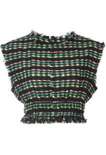 Proenza Schouler Blusa Cropped De Tweed - Preto