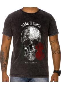 Camiseta Use Thuco Pink Skull Preto Estonado
