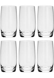 Conjunto 6 Copos Alto De Cristal Long 400Ml Drink Ideal - Bohemia - Transparente