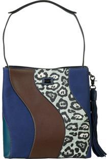 Bolsa David Jones Modelo Ombro Animal Print Azul Marinho