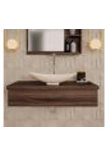 Conjunto Para Banheiro Bancada Com Cuba L45 Canoa City 800 Nogal