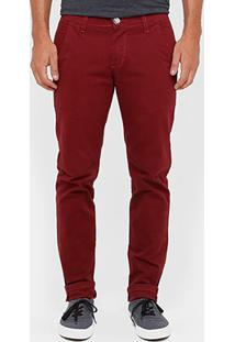 Calça Skinny Preston Color Bolso Faca Masculina - Masculino-Bordô