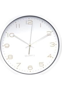 Relógio Parede Plástico Essential Round Branco E Dourado 25,4X4X25,4 Cm Urban