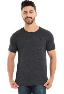 Camiseta Listrada Preto