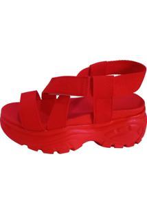 Sandália Vesture Tratorada Flatform Vermelha