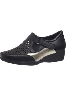 Sapato Anabela Doctor Shoes 3142 Preto/Dourado