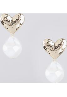 Brinco Feminino Coração Com Pérola Texturizada Dourado