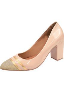 Scarpin Rosa Chic Calçados 8 Cm Marfim