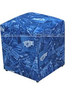 Puff Quadrado Decorativo Tecido 538 Lyam Decor Azul Jeans