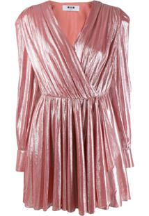 Msgm Vestido Metalizado - Rosa